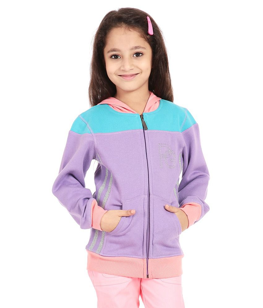Posh Kids Purple Cotton Spandex Sweatshirt With Hood