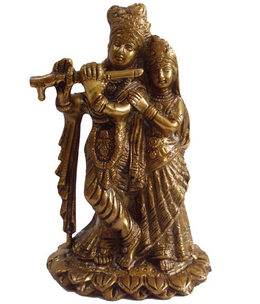 Quality Mart Golden Brass Lord Radha Krishna Statue