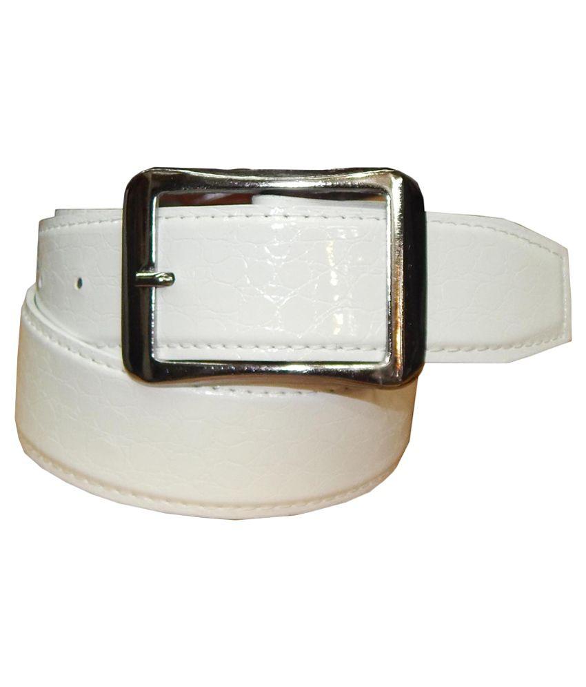 Ansari White Leather Pin Buckle Belt