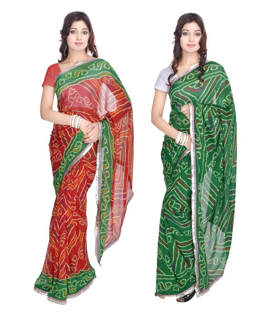 Geroo Red & Green Georgette Pack Of 2