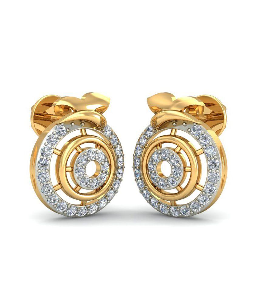 Goldadorn 18kt Golden And Diamond Studded Stud Earrings