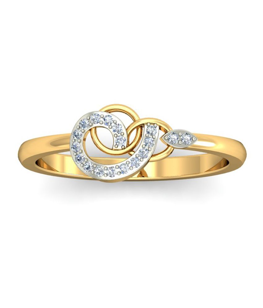 Goldadorn Golden And Diamond Studded 18kt Ring