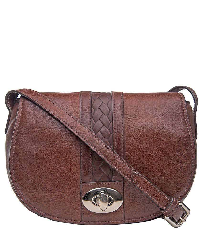2666c19539 Hidesign CHA CHA 01 Brown Leather Sling Bag - Buy Hidesign CHA CHA 01 Brown  Leather Sling Bag Online at Best Prices in India on Snapdeal