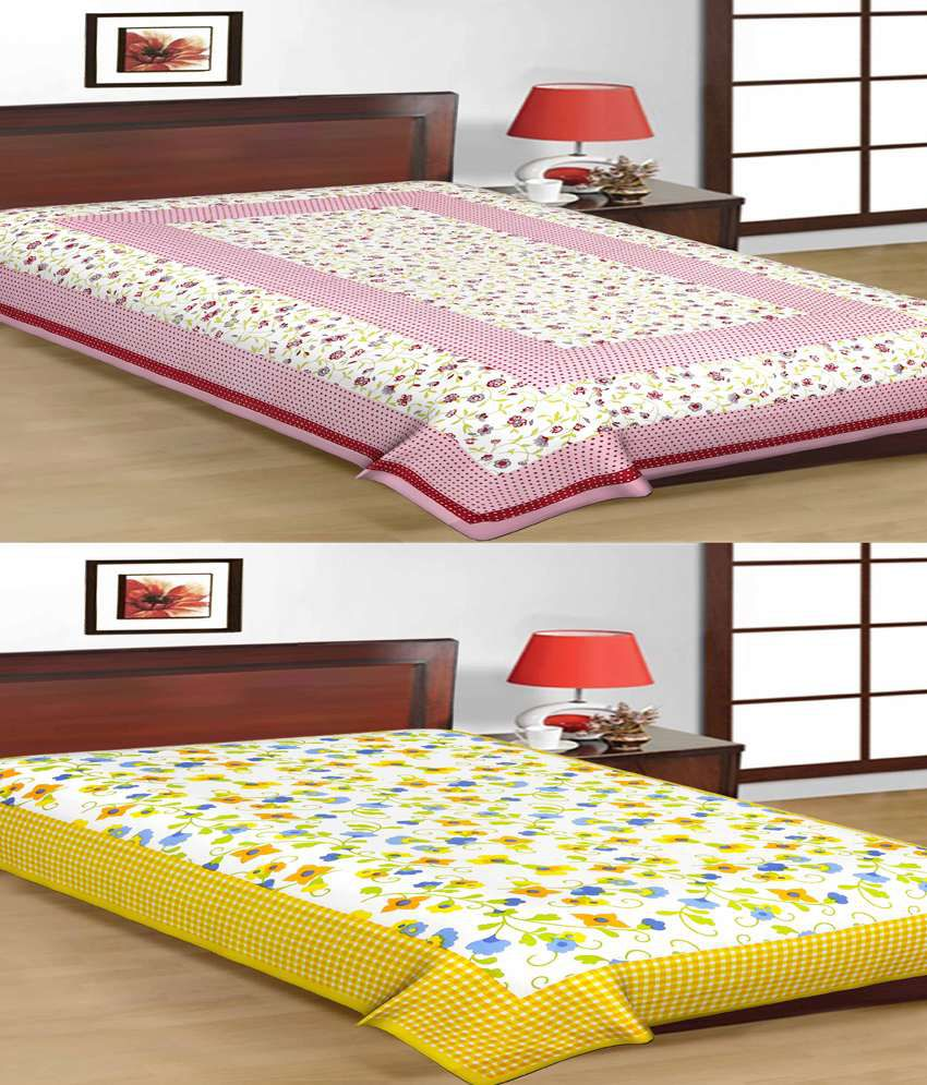 UniqChoice Jaipuri Traditional Printed Multicolor Cotton Single Bedsheet - Combo Of 2