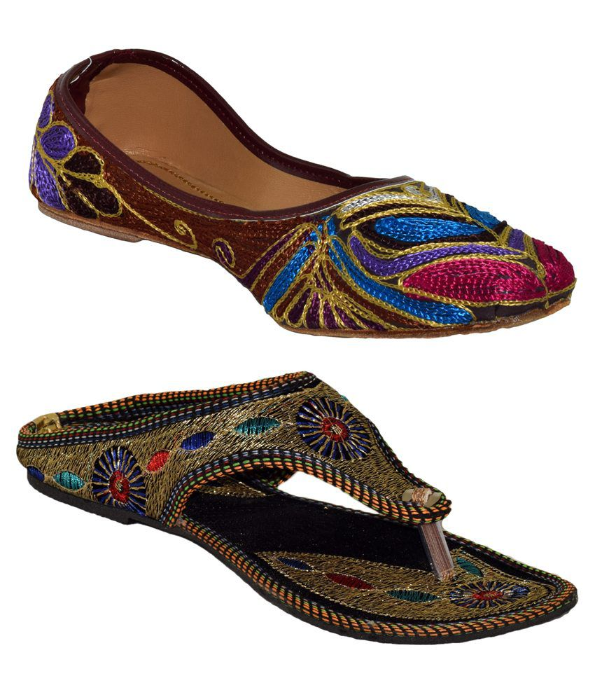 Yatha Multicolor Flat Slip Ons and Juttis Combo