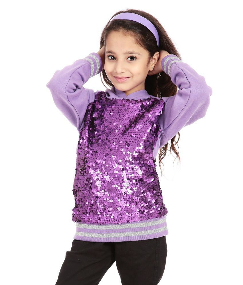 Posh Kids Purple Patchwork Sweatshirts With Hood