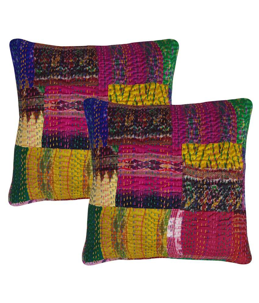 Rajcrafts Indian Traditional Silk Patola Kantha Work Cushion Cover