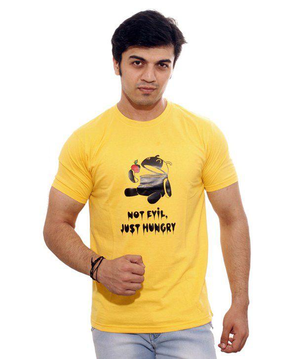 Regalia Retails Yellow Printed Cotton Blend Round Neck T-shirt