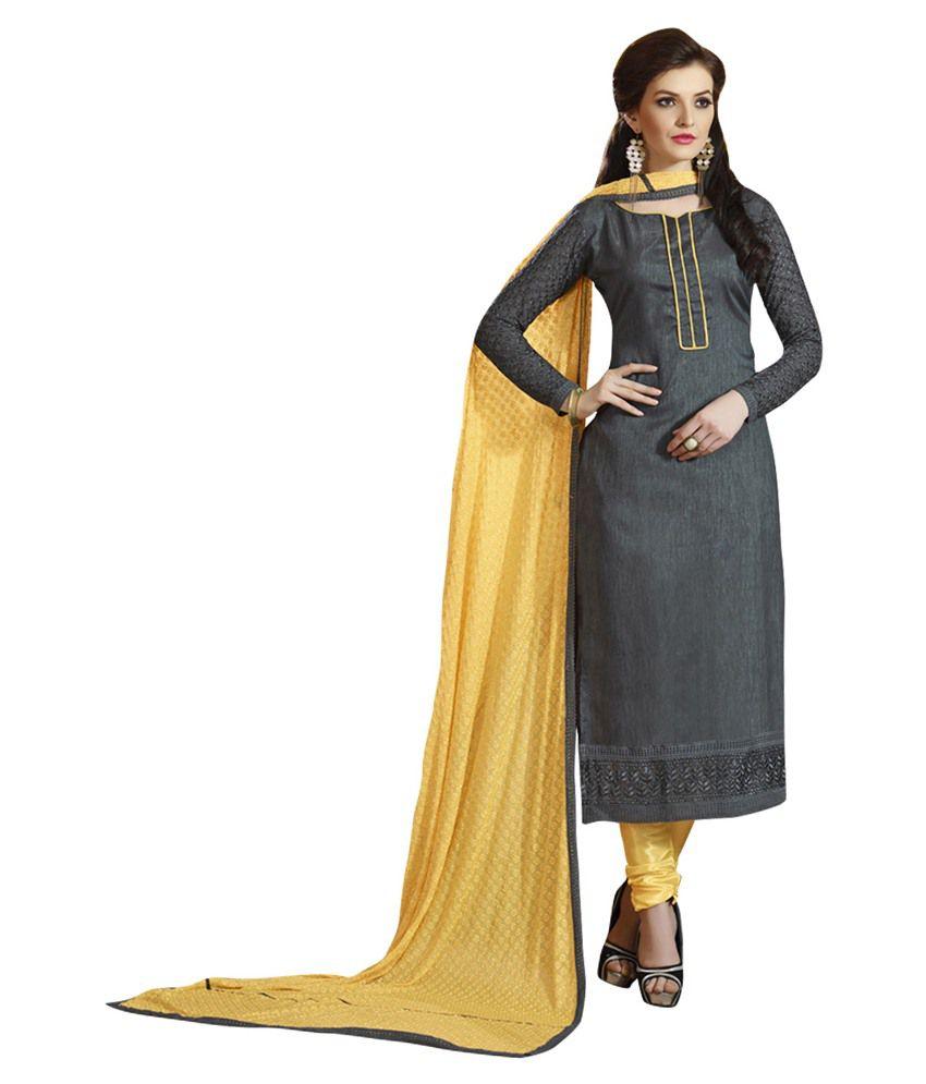 Ethniccrush Black Silk Semi Stitched Dress Material