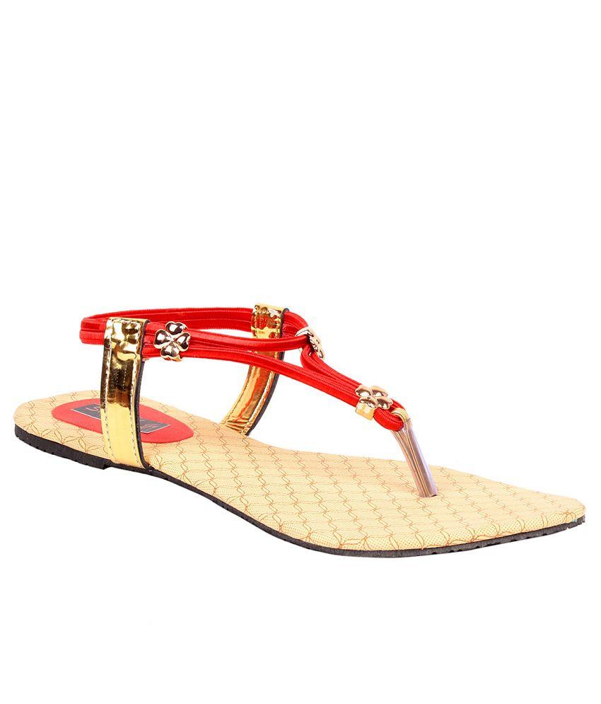 Sapyork Red Flat Sandals
