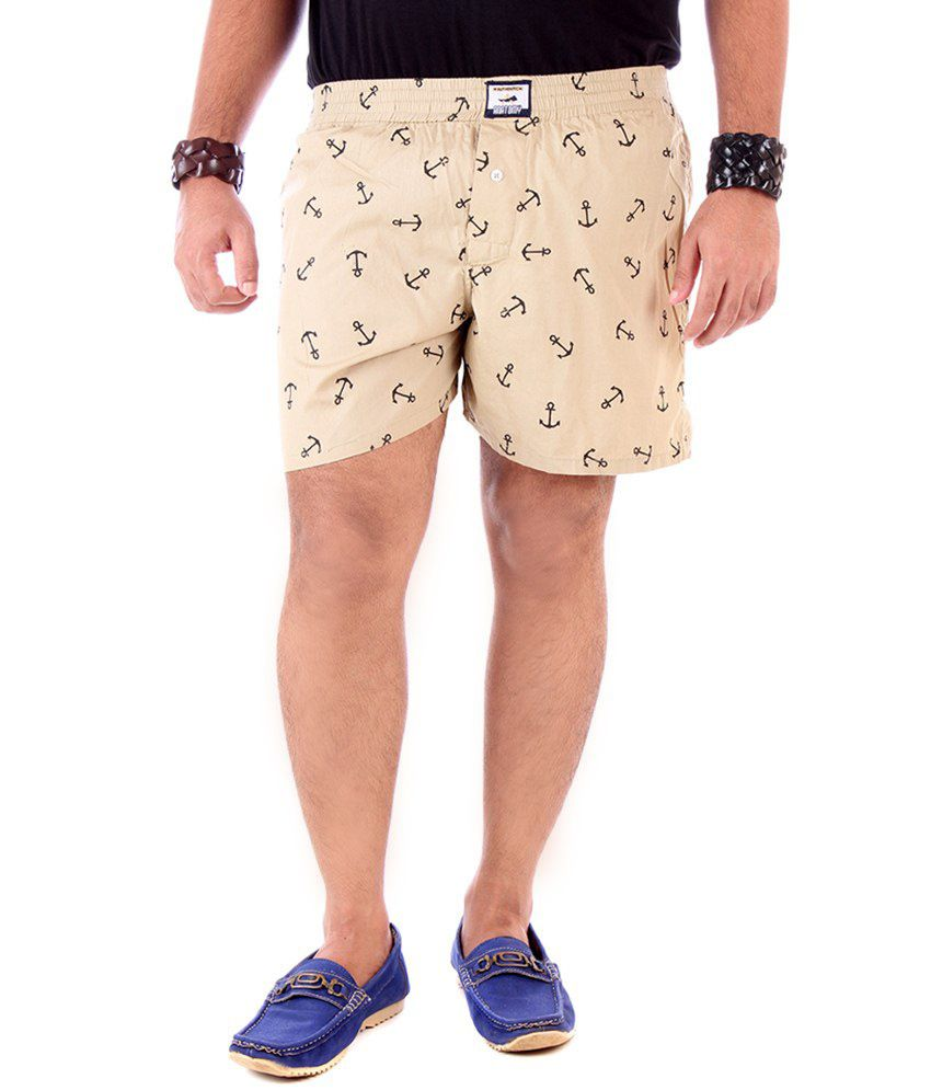 YUP Beige Cotton Printed Shorts