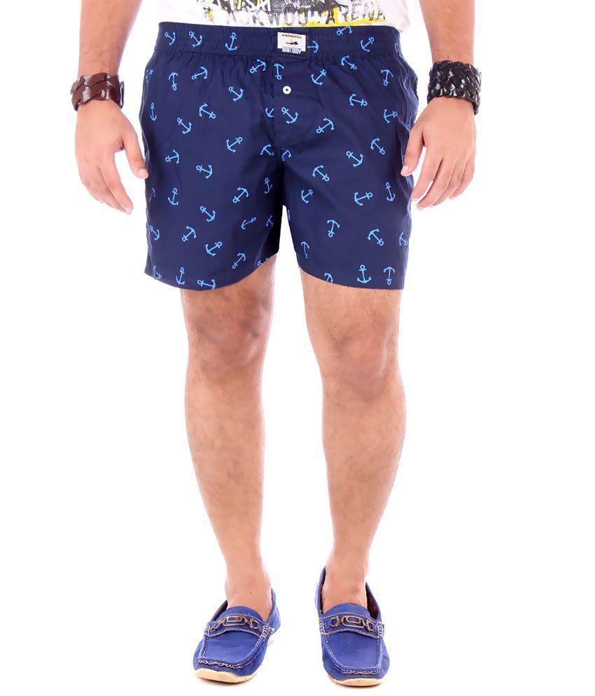 YUP Blue Cotton Printed Shorts