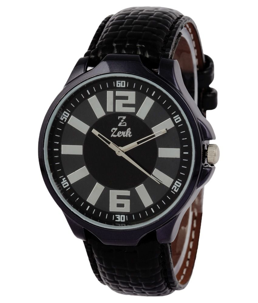 Zerk Black Leather Casual Watch