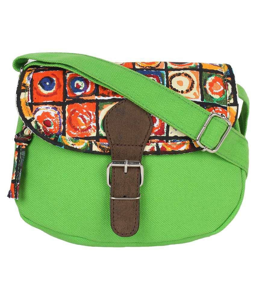 Anekaant Canvas Cloth Sling Bag-Green