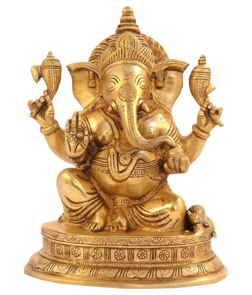 Statuestudio Yellow Brass Ganesha Sitting On Base