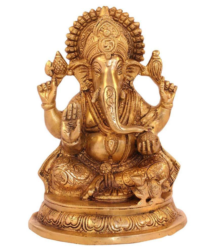 Statuestudio Yellow Brass Ganesha Sitting