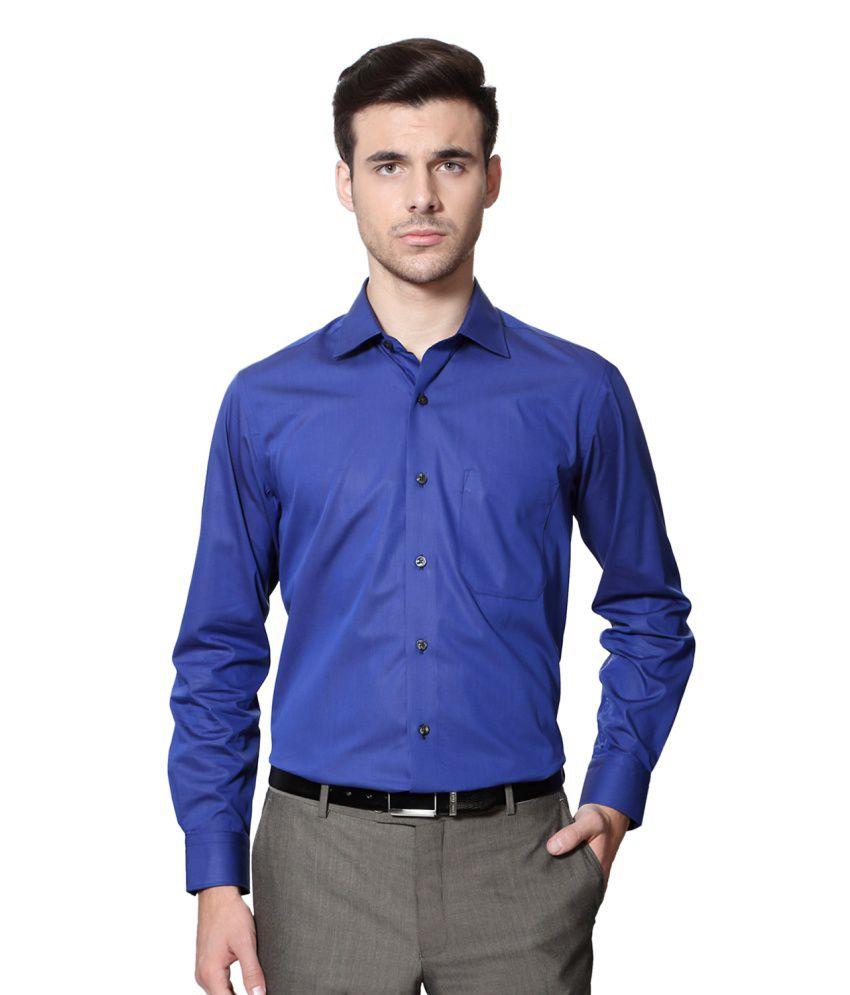 Louis Philippe Blue Cotton Shirt