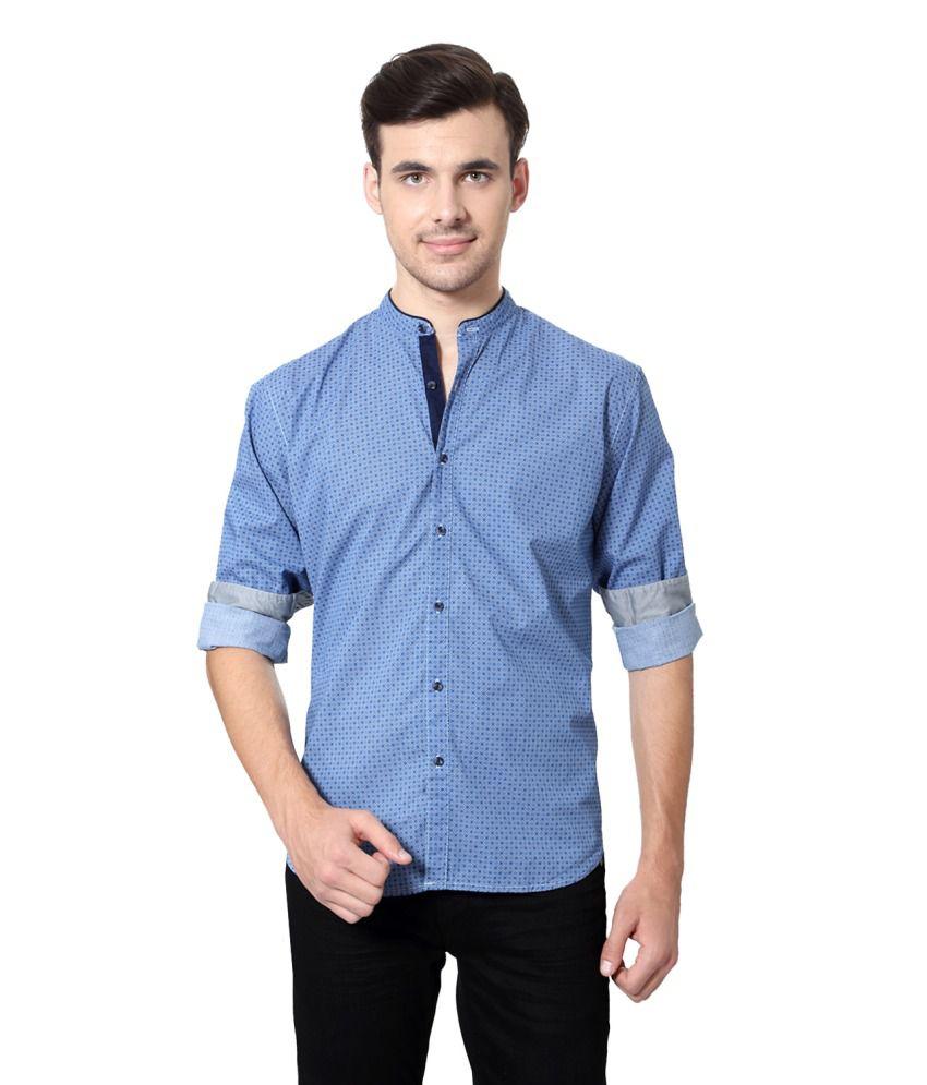 Louis Philippe Blue Cotton Shirt - Buy Louis Philippe Blue ...