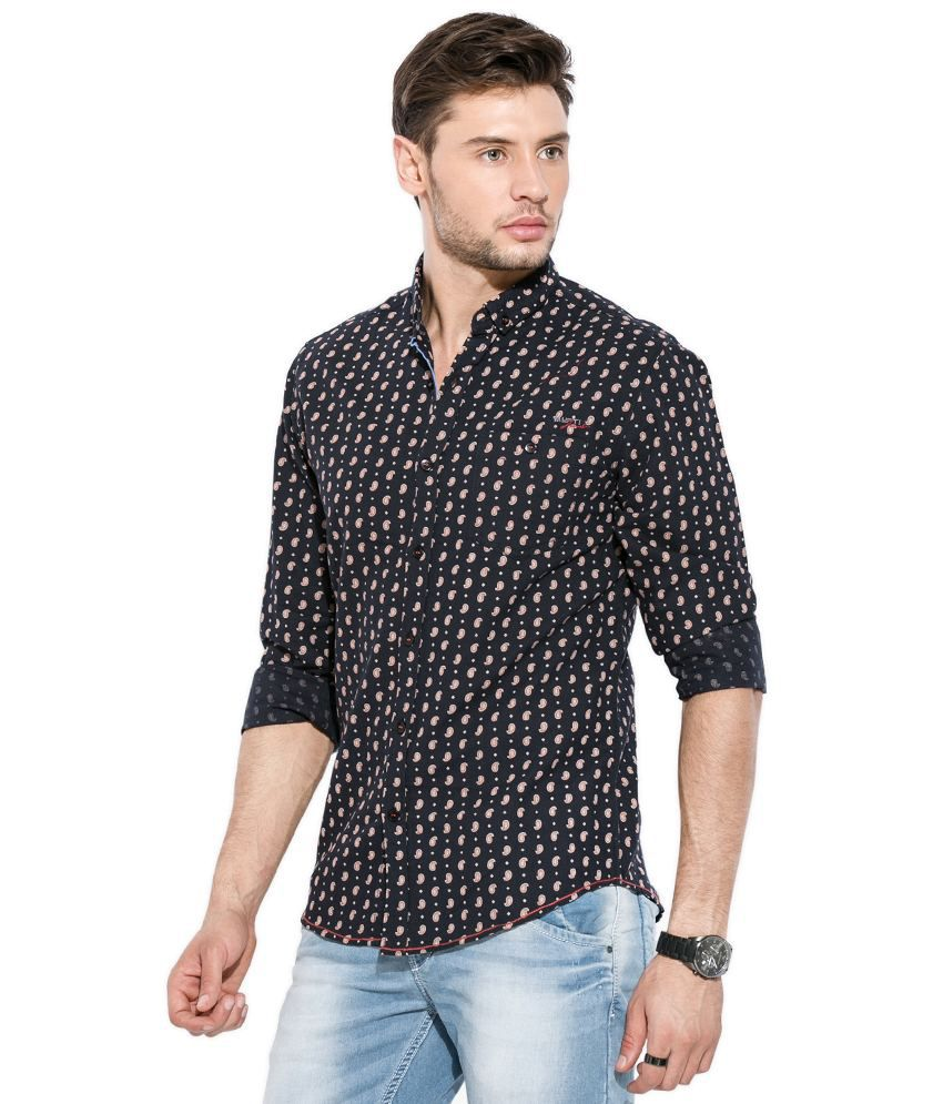 5506d8d28067 Mufti Black Printed Shirt - Buy Mufti Black Printed Shirt Online at ...