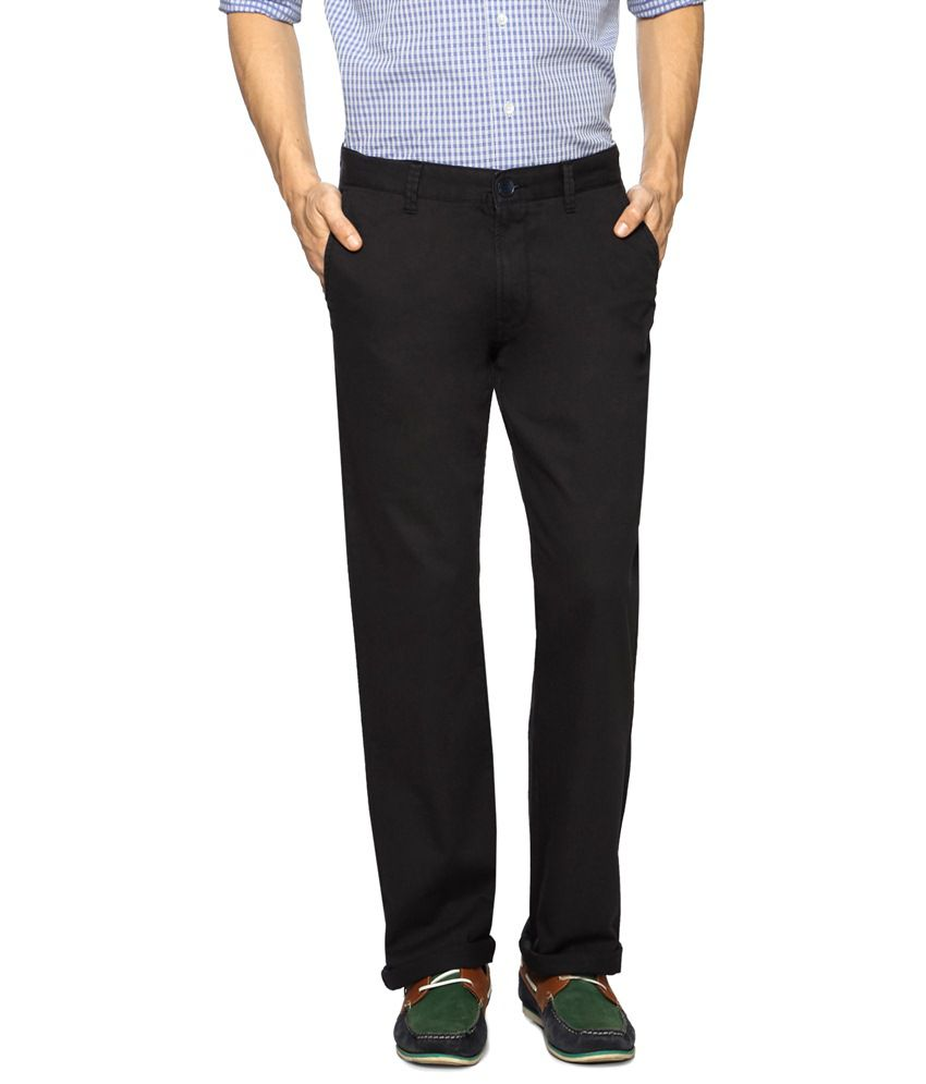 Peter England Black Casual Trousers