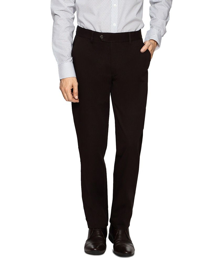 Peter England Deep Brown Formal Trousers