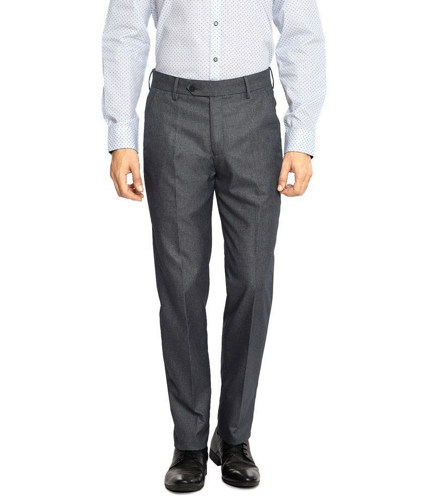 Peter England Gray Formal Trousers