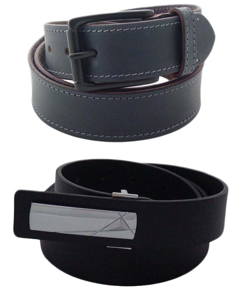 SFA Combo of 2 Gray & Black Casual Belts