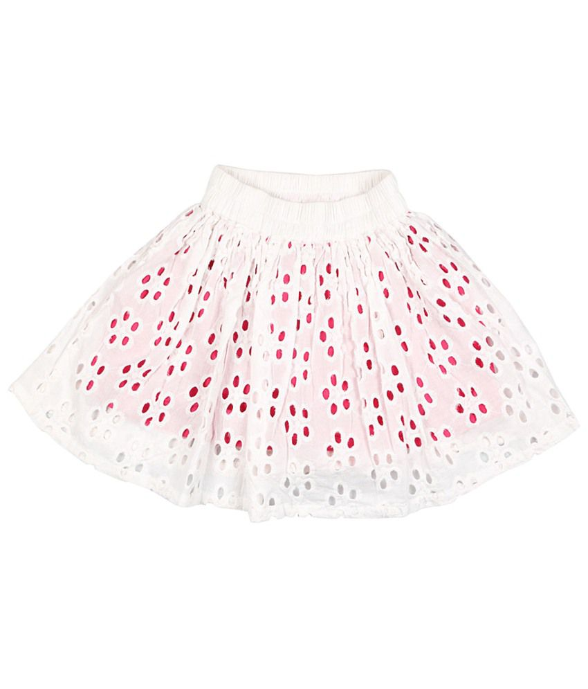 People Off White & Pink Patterned Shifley Skirt for Girls