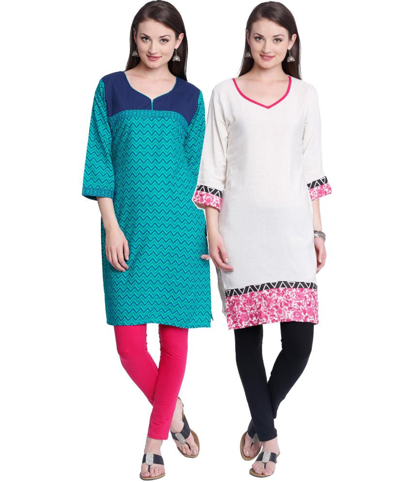 Almas Combo of Blue and White Cotton Kurtis (Set of 2)