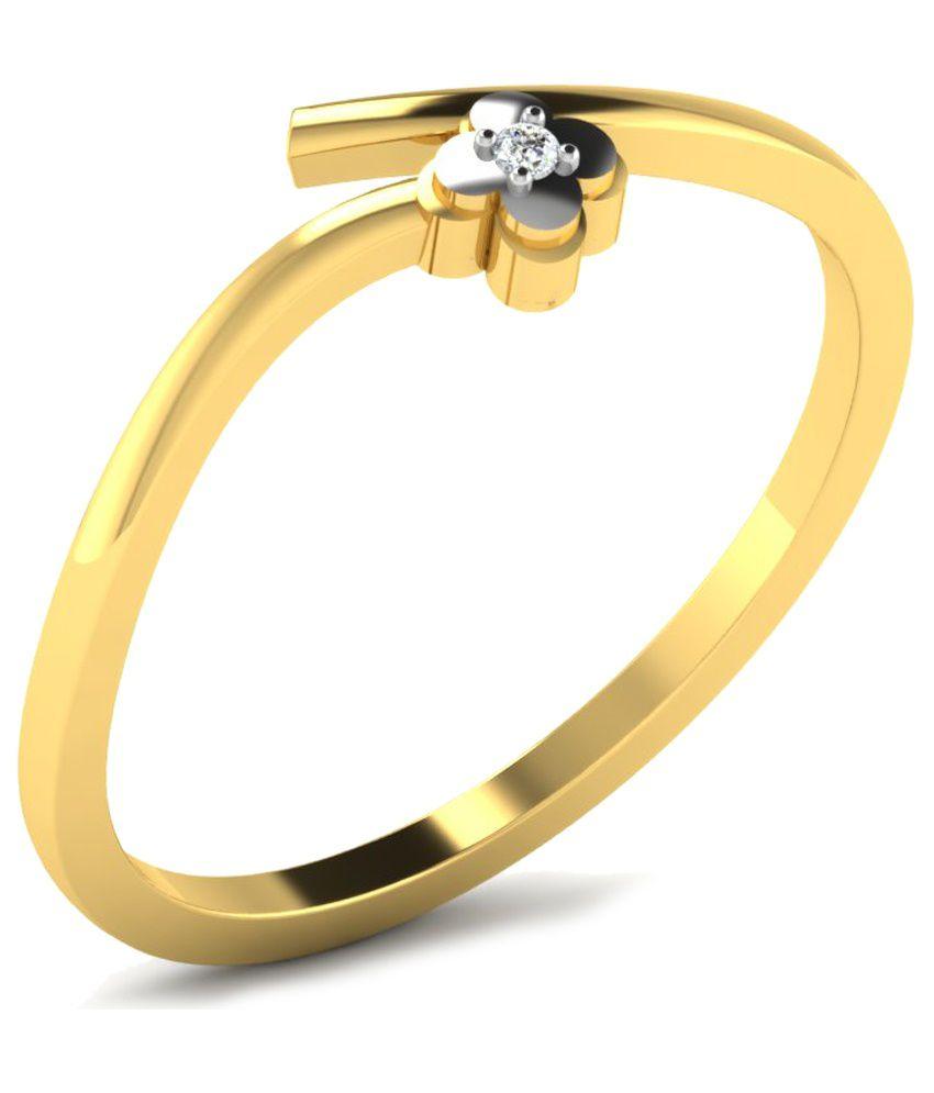 Fullcutdiamond 18 Kt Gold & 0.01 Ct Diamond Floral Ring for Women
