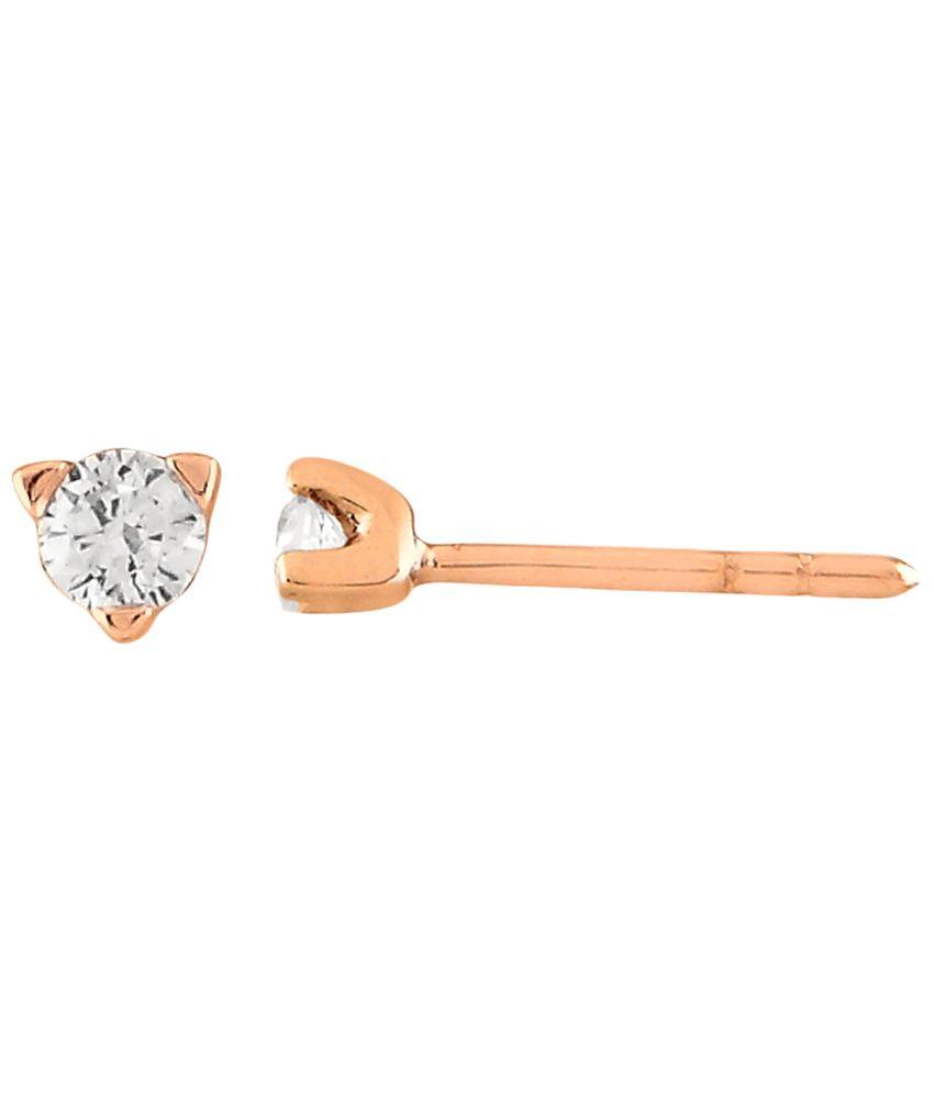 Fullcutdiamond 18 Kt Gold & 0.15 Ct Diamond Contemporary Stud Earrings