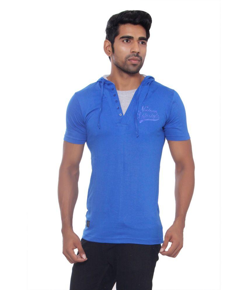 Pezzava Blue Cotton Blend Hooded T-shirt
