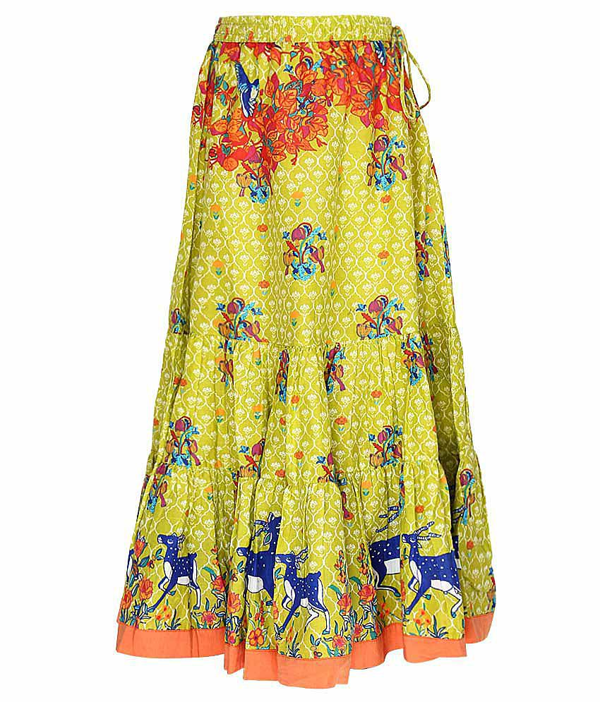 Biba Lime Green Printed Long Skirt