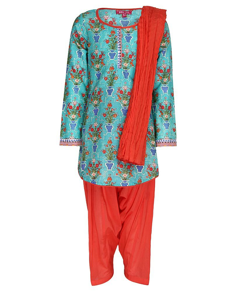 Biba Turquoise & Coral Salwar Kurta With Dupatta