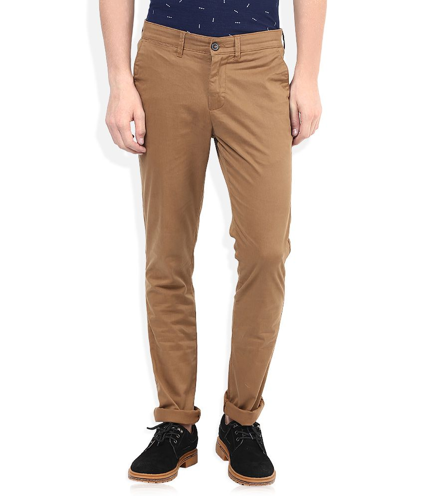 Celio Brown Slim Fit Chinos