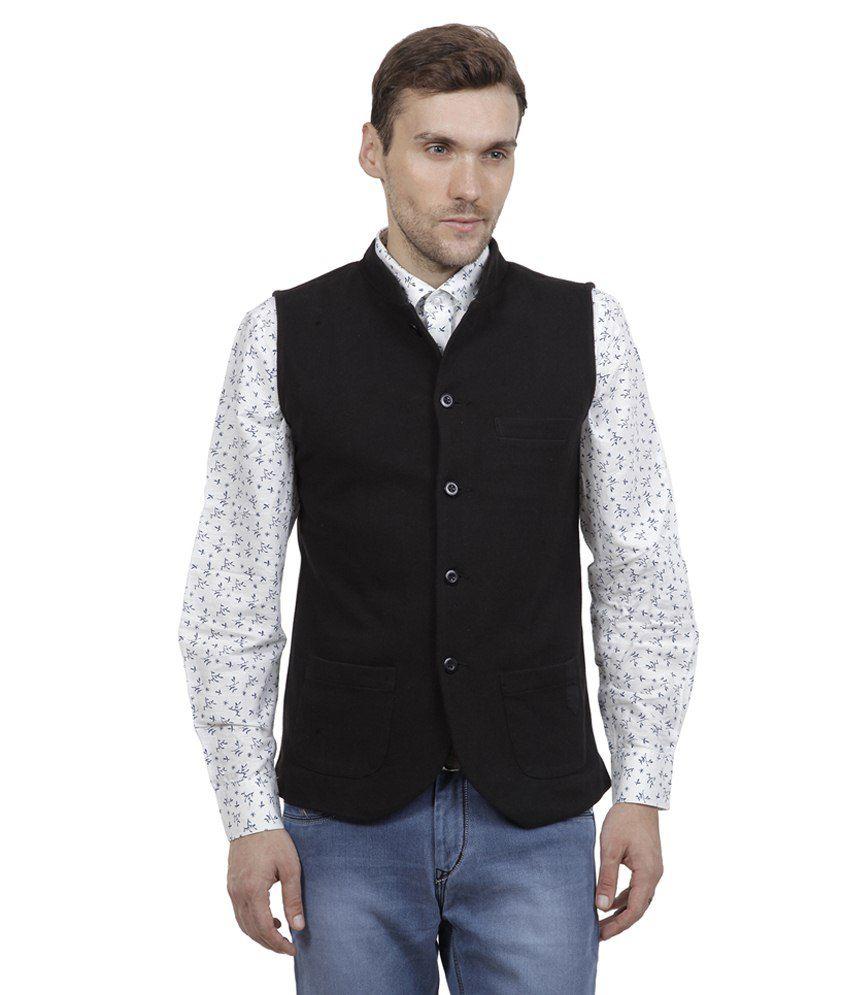 Hypernation Black Cotton Waistcoat