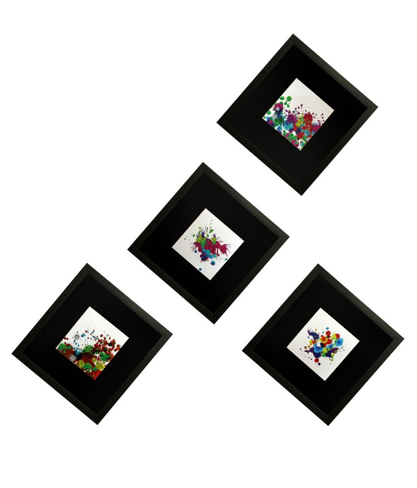 SAF Wooden Abstract Painting Set of 4 - With Frame