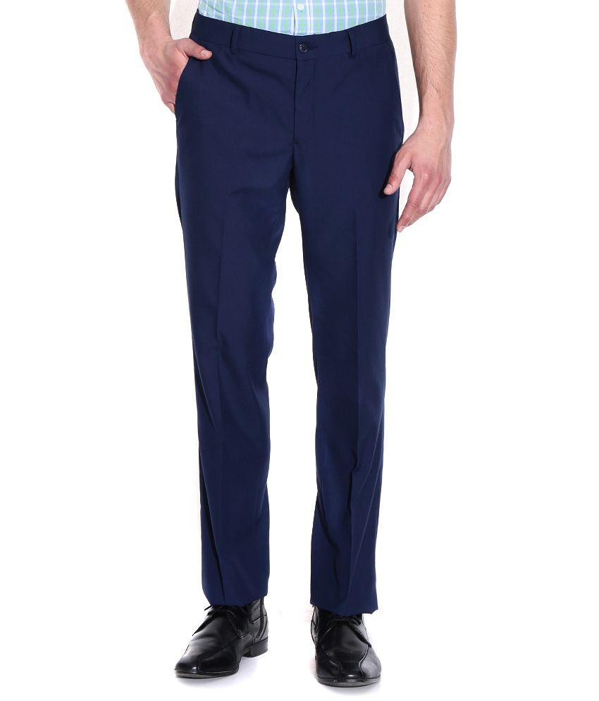 Style Blue Regular Fit Formal Flat Trouser
