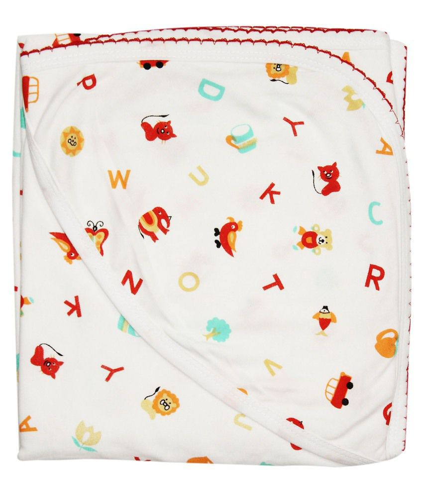Wonderkids Red Alphabets Print Baby Hooded Wrapper