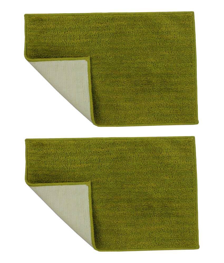 Azaani Combo Of 2 Micro Green Bathmats