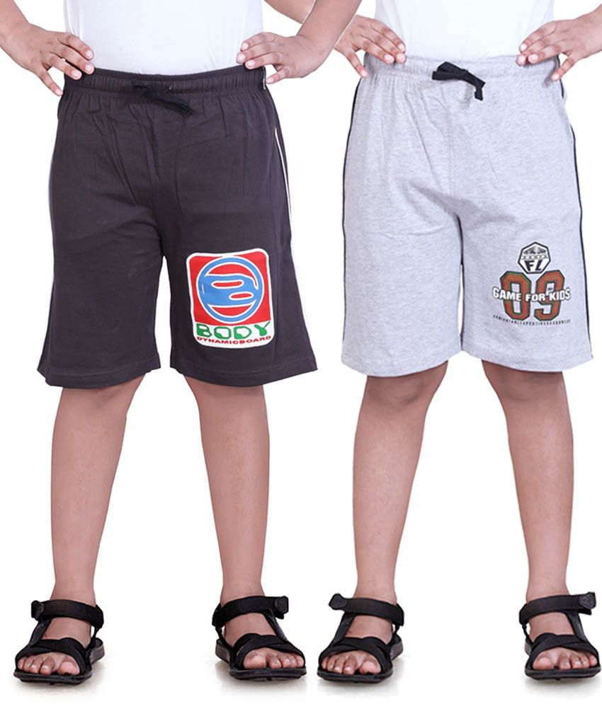 Dongli Brown Cotton Shorts For Boys-Pack Of 2