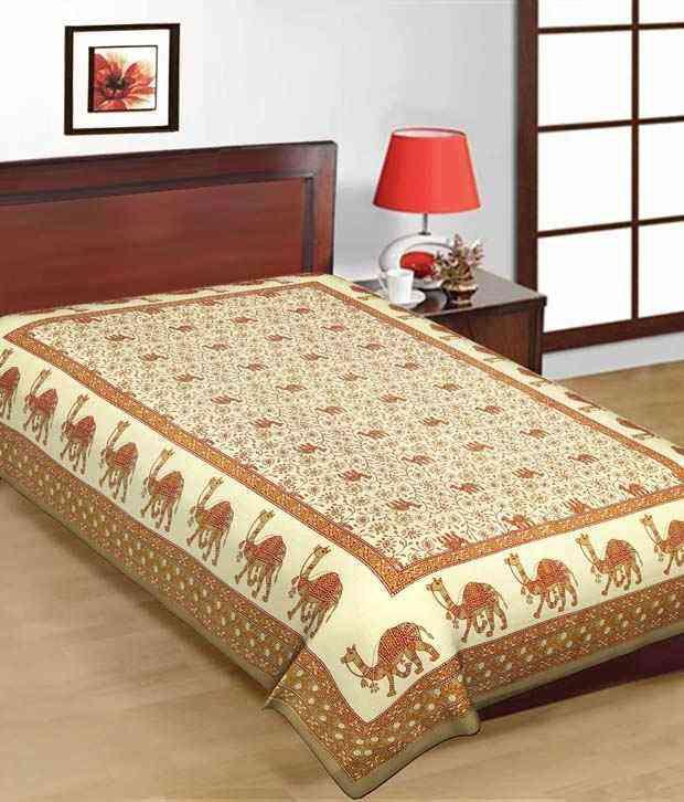 Kismat Collection Brown Printed Cotton Bedsheet