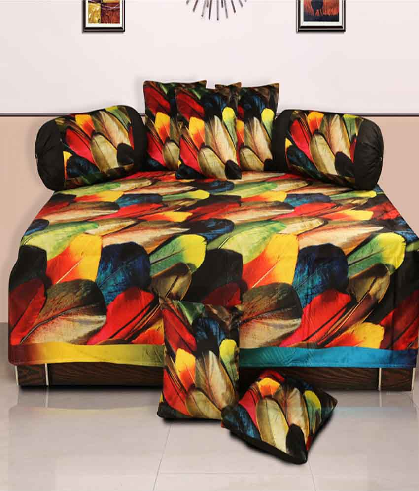 Dekor World Multi-Colour Floral Polyester Diwan Set