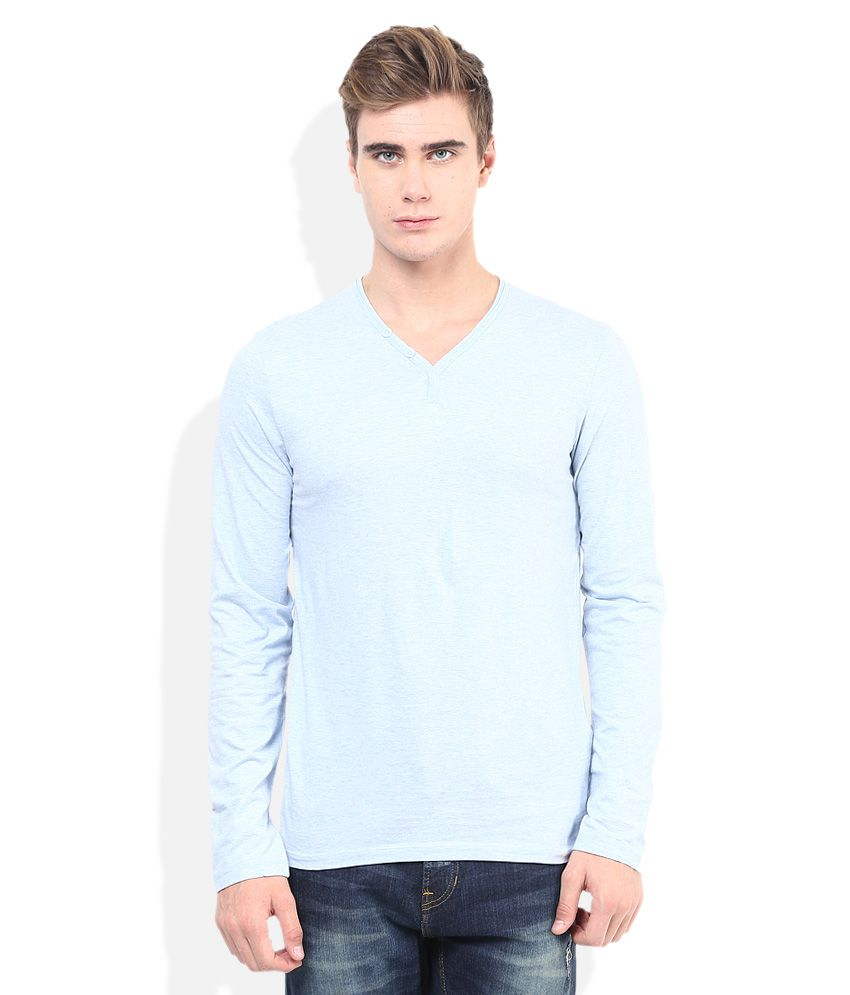 Celio Blue Solid V Neck T Shirt