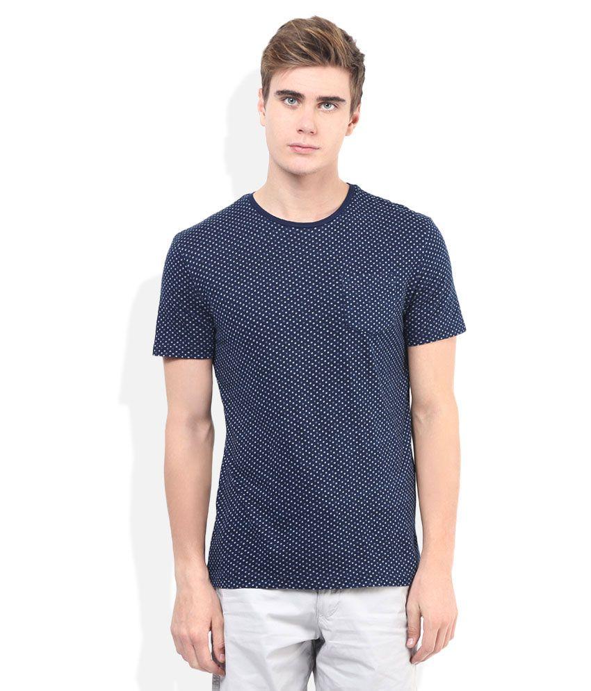 Celio Blue Printed Round Neck T Shirt