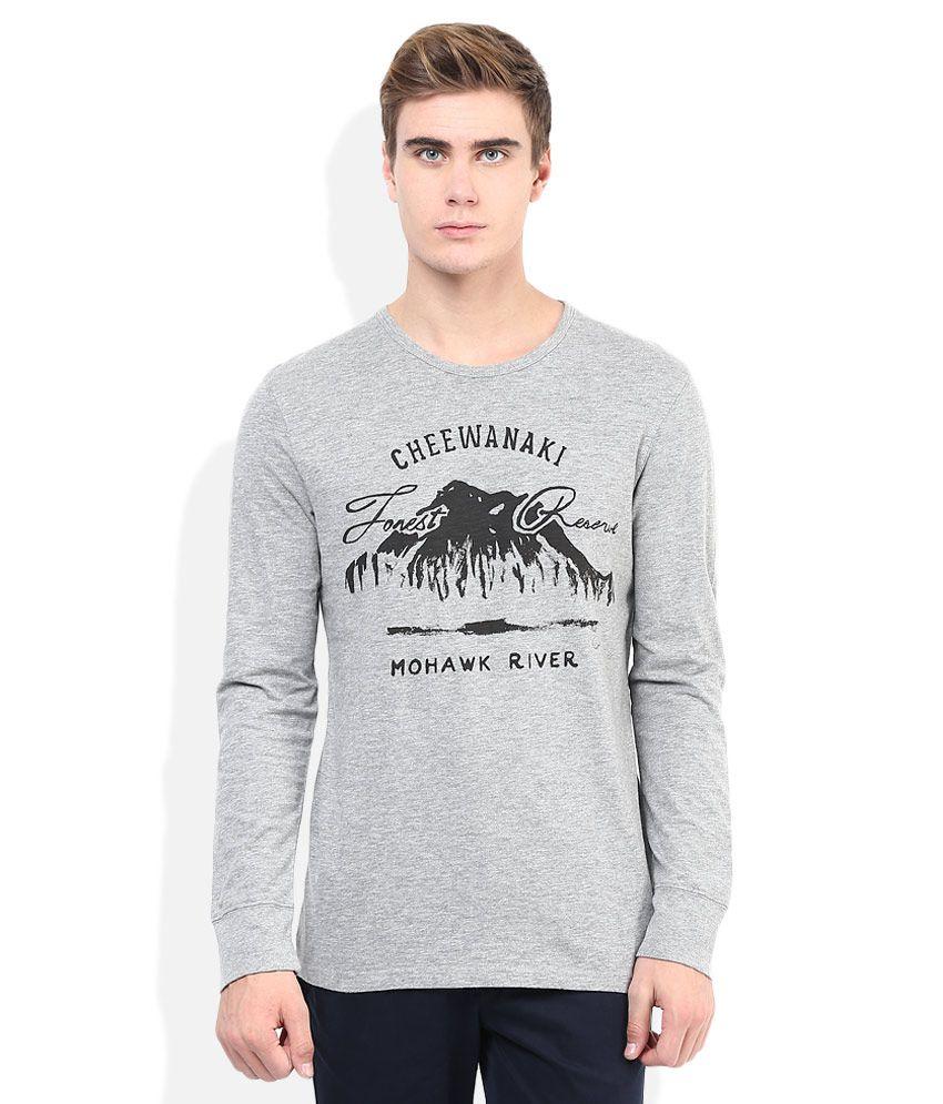 Celio Grey Printed Round Neck T Shirt