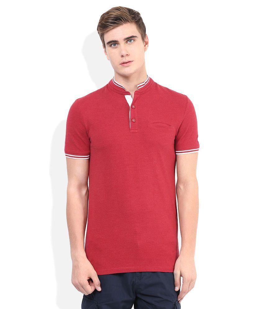 Celio Red Mandarin Neck T Shirt