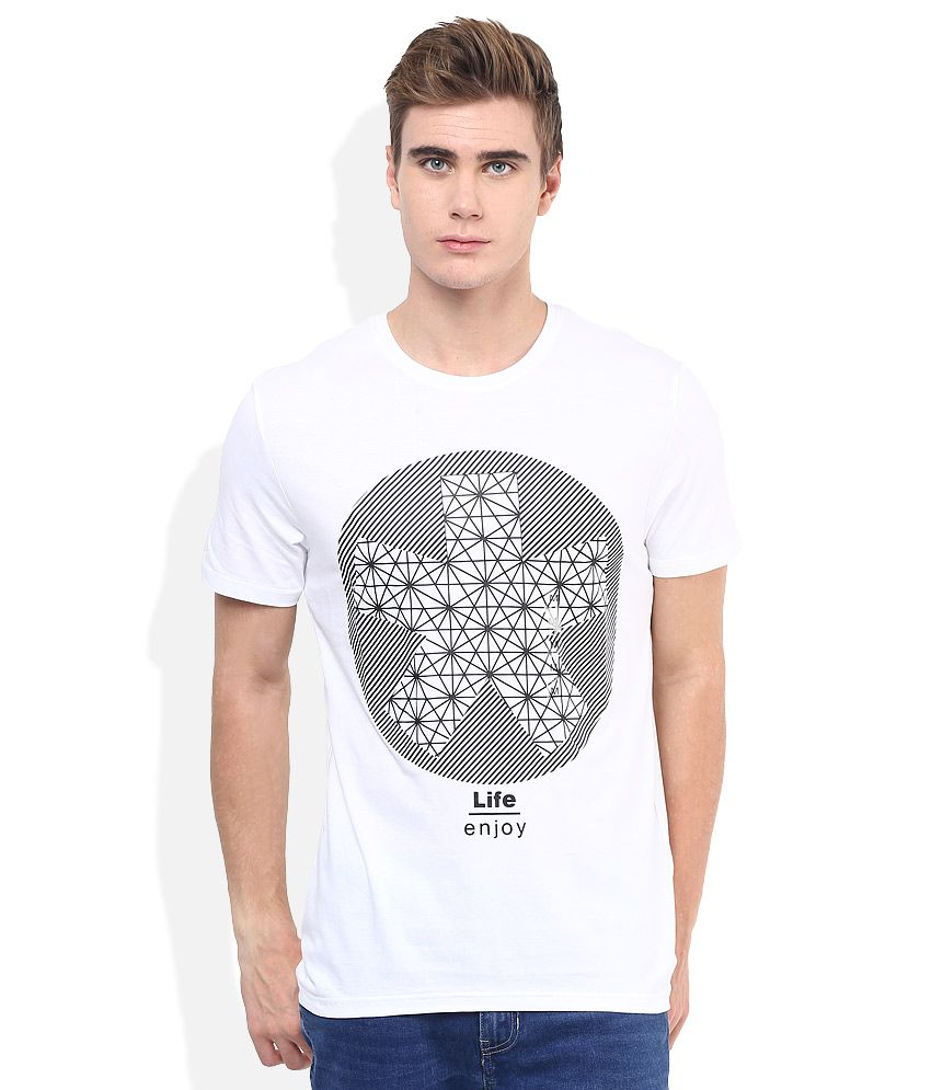 Celio White Printed Round Neck T Shirt