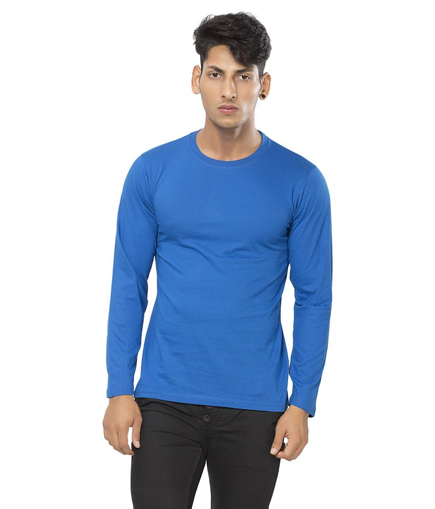 Alan Jones Blue Basic Round Full Cotton Tshirt
