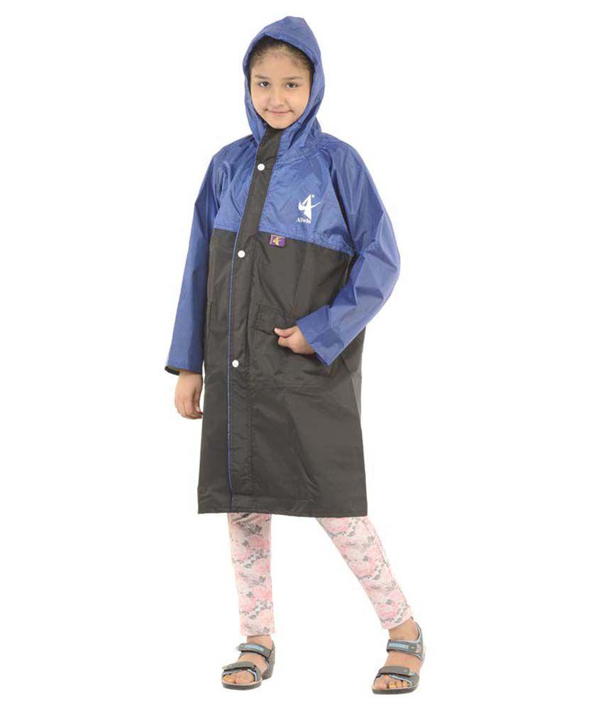Allwin Polyester Girl's(kids) Longcoat Rainsuit Black